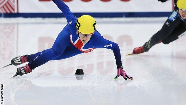 Elise Christie in action in Russia