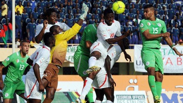 Burkina Faso and Algeria in action in the first leg of their World Cup play-off