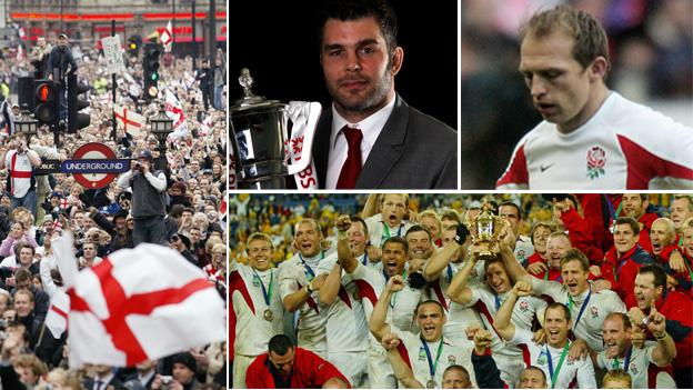 (From left, clockwise) Supporters fill the streets of London for the parade after England's 2003 World Cup triumph; Nick Easter with the Six Nations trophy in 2011; Matt Dawson looks downcast after England's 31-6 defeat by France in 2006; England's players celebrates their 2003 World Cup success