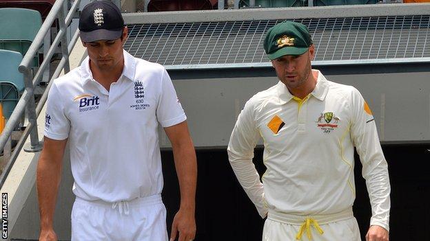 England captain Alastair Cook and Australia skipper Michael Clarke