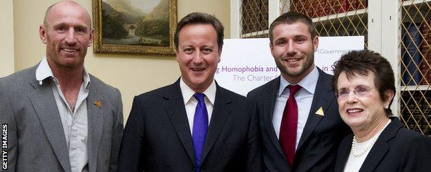 (form left) former Wales rugby player Gareth Thomas, Prime Minister David Cameron, Ben Cohen and former tennis star Billie Jean King at a Downing Street reception to discuss homophobia and transphobia in sport