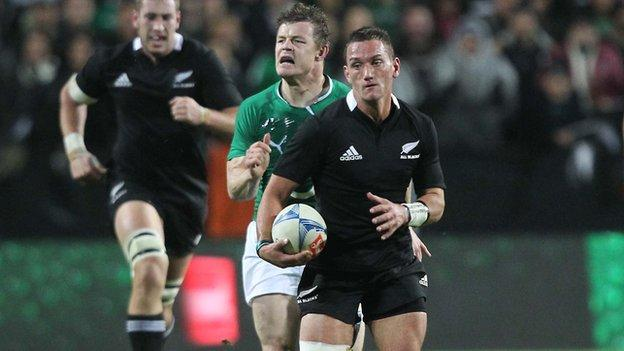 Brian O'Driscoll is unable to catch Aaron Cruden during Ireland's 60-0 humiliation by the All Blacks 17 months ago