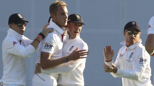 Stuart Broad celebrates a wicket