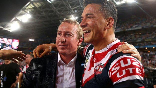 Sydney Roosters coach Trent Robinson and Sonny Bill Williams