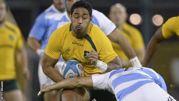 Joe Tomane in action for Australia against Argentina