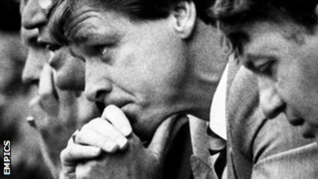 Graham Turner ruefully watches his Aston Villa team beaten 6-0 at Nottingham Forest in September 1986, the day before his sacking