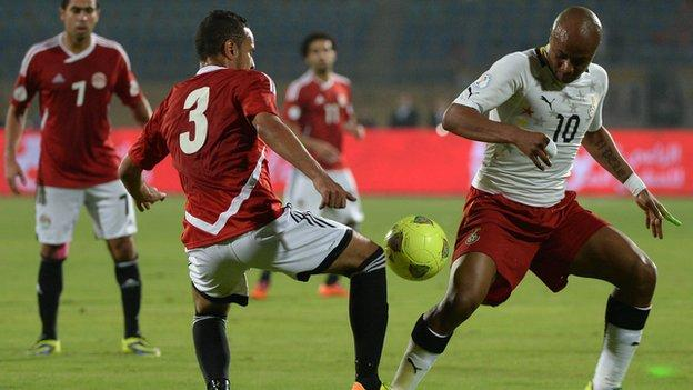 Andre Ayew (right) in action for Ghana against Egypt