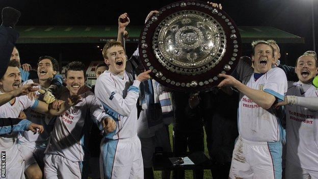 Ballymena won the County Antrim Shield at the Oval in November 2012
