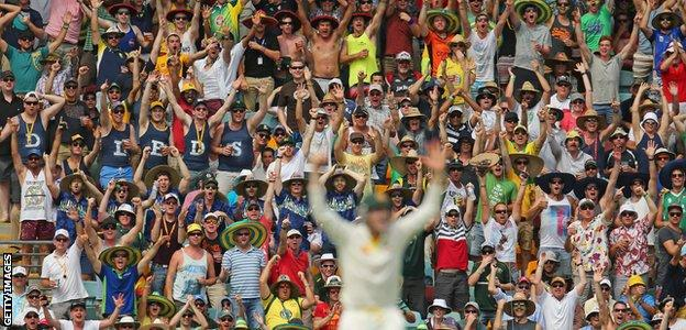 The Australian crowd loved every minute of England's collapse - rising as one to celebrate the wicket of Ian Bell