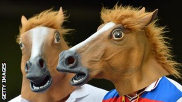 England fans in horse masks at the Gabba