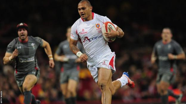 Ashley Beck adds a second try for Wales before Will Helu runs in for a try to secure Tonga's first points of the evening.