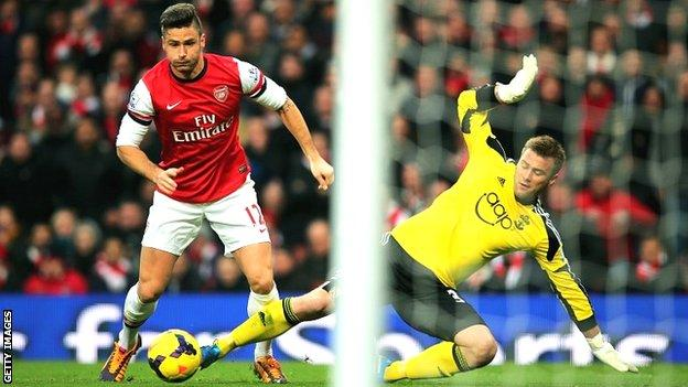 Olivier Giroud scores for Arsenal against Southampton