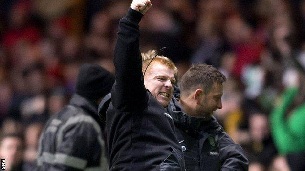 Celtic manager Neil Lennon celebrates win over Aberdeen