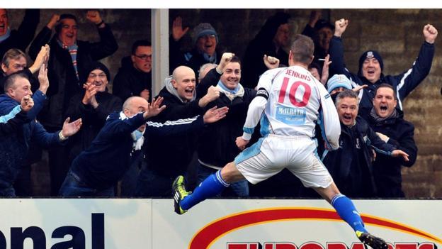 Allan Jenkins celebrates after scoring Ballymena's second goal against Warrenpoint Town
