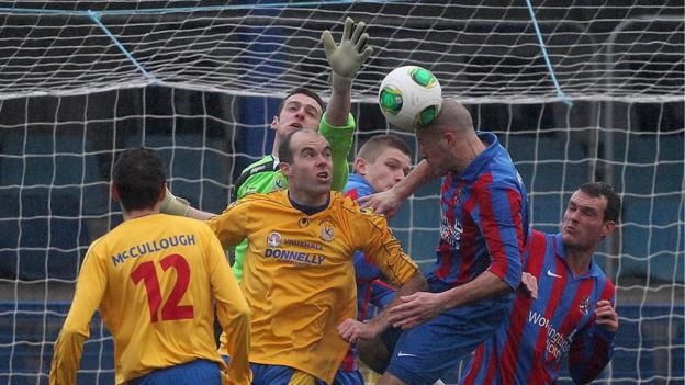 Goalmouth action from Clandeboye Park where Dungannon Swifts edged out Ards 3-2