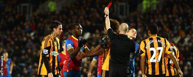 Crystal Palace winger Yannick Bolasie after being sent off at Hull