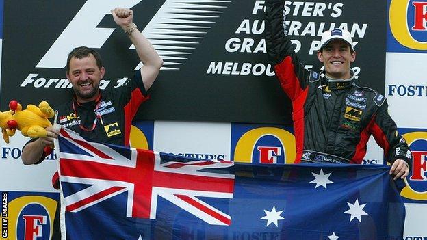 Minardi team boss Paul Stoddart and Mark Webber