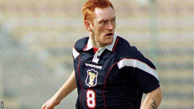 David Hopkin playing for Scotland