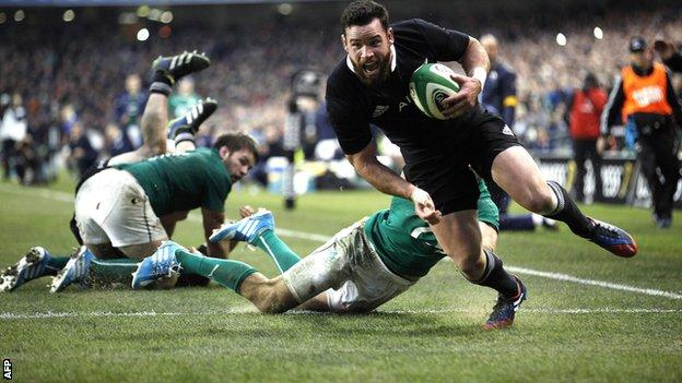 """New Zealand""""s Ryan Crotty scores the final try in the dramatic win over Ireland"""