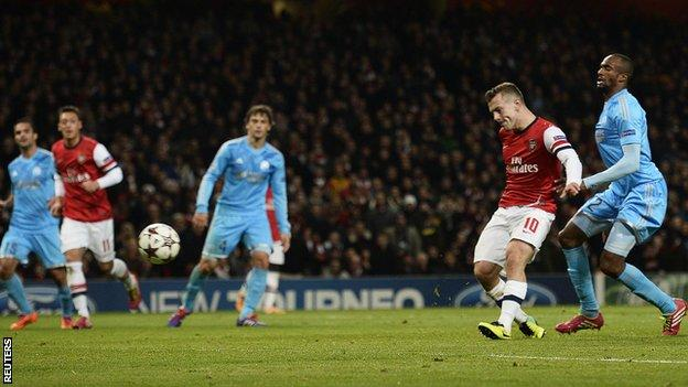Arsenal midfielder Jack Wilshere scores against Marseille