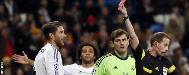 Sergio Ramos is sent off for Real Madrid