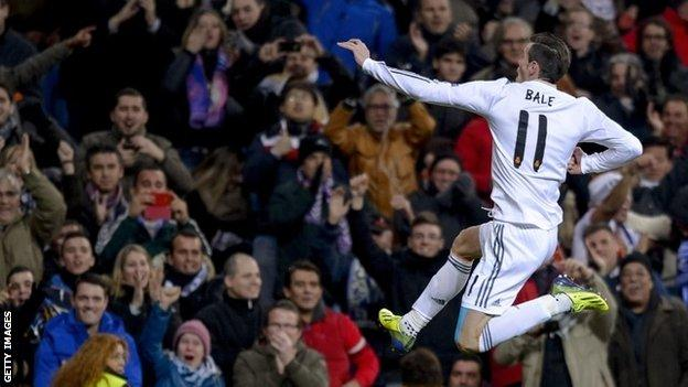 Real Madrid's Gareth Bale celebrates scoring