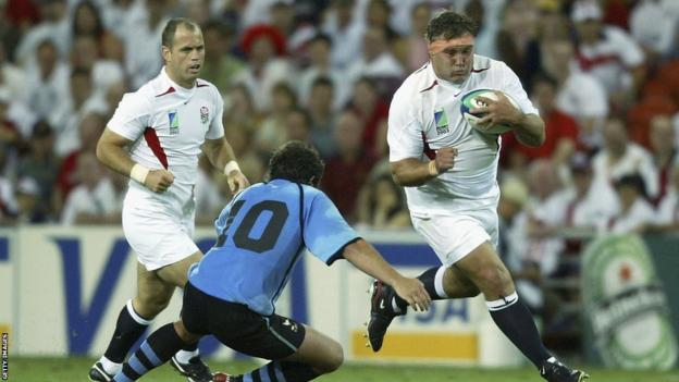 Jason Leonard takes on Sebastian Aguirre of Uruguay during the Rugby World Cup in 2003