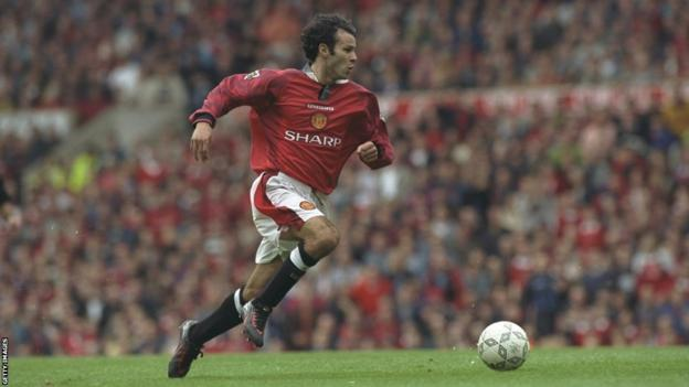 Ryan Giggs playing for Manchester United at Old Trafford in 1997