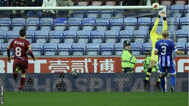 Wigan goalkeeper Lee Nicholls