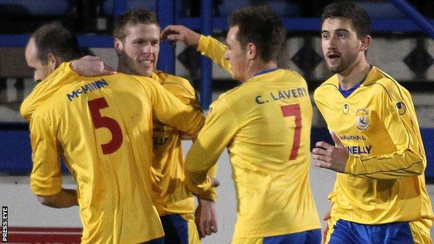 Darren Boyce is congratulated after putting Dungannon ahead against Glenavon last Friday