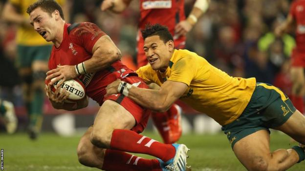 George North goes over for his second try as Wales fight back