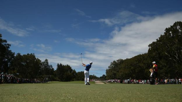 Rory McIlroy plays an approach shot during the final round which ended with the Northern Irishman pipping Adam Scott to the title by one shot