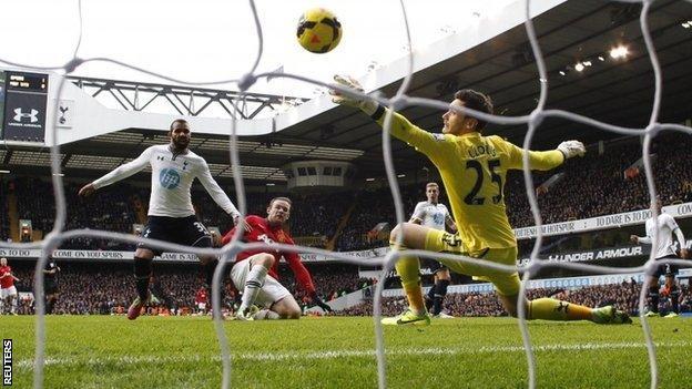 Wayne Rooney equalises for Manchester United against Tottenham