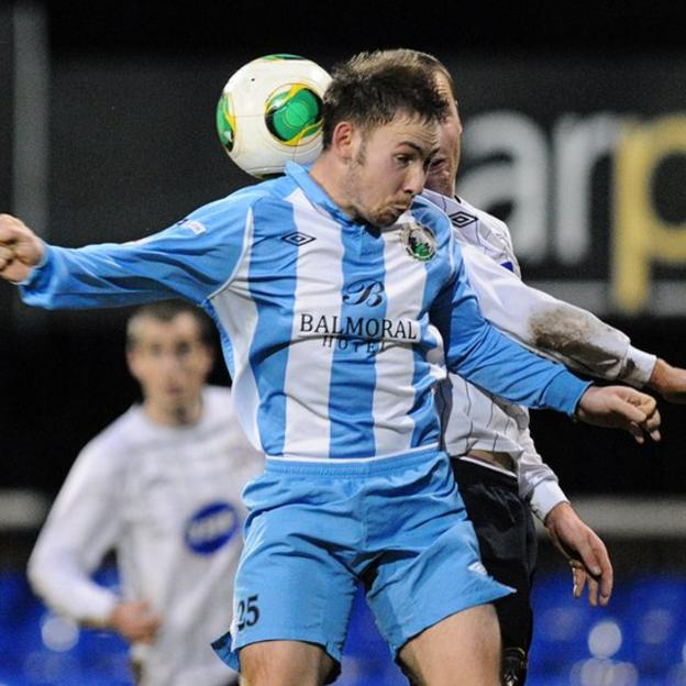Marty Havern in action for Warrenpoint Town during their 2-1 win over Coleraine at Stangmore Park