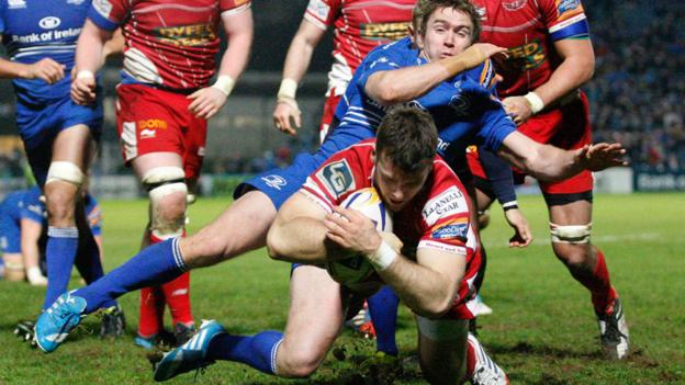 Gareth Davies drives over for a try against Leinster for the Scarlets. But the Irish team came out 36-19 winners