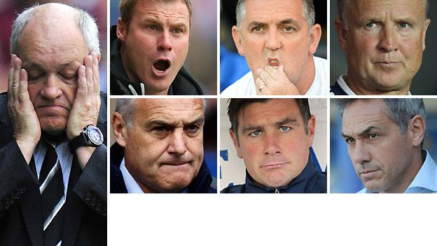 From left to right clockwise: Martin Jol, David Flitcroft, Owen Coyle, Sean O'Driscoll, Guy Whittingham, Richie Barker and Dave Jones