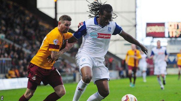 Tranmere Rovers defender Ian Goodison in action against Bradford