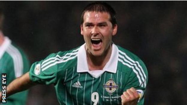 David Healy scores an equaliser against Azerbaijan