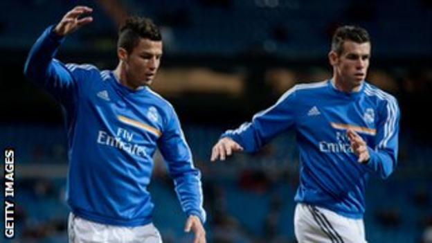 Cristiano Ronaldo and Gareth Bale training
