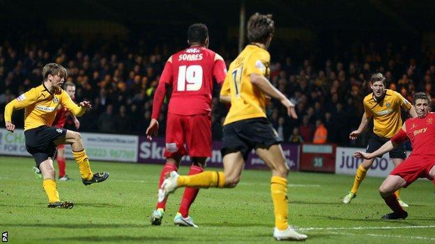 Luke Berry scores for Cambridge against Bury