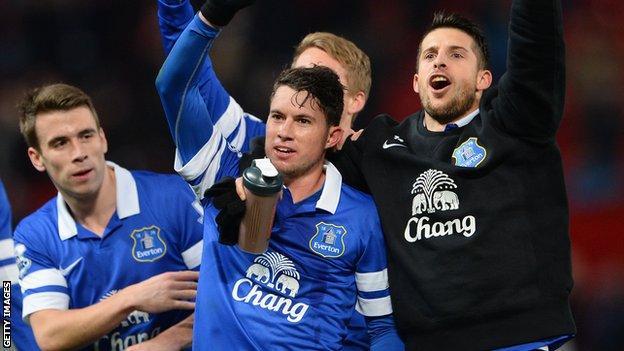Bryan Oviedo celebrates after scoring Everton's winner at Manchester United