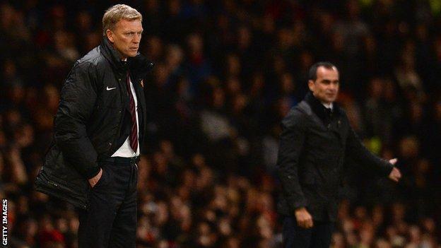 Manchester United manager David Moyes and Everton boss Roberto Martinez
