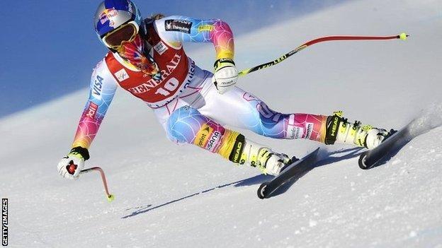 Lindsey Vonn in training at Lake Louise