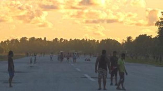 Tuvalu's airfield doubles as a football pitch