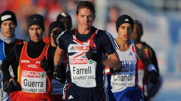 Great Britain's Tom Farrell leads the 2012 European Cross Country in Budapest