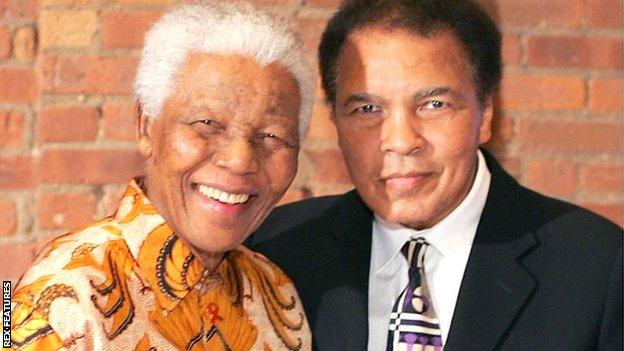 Nelson Mandela with Muhammad Ali