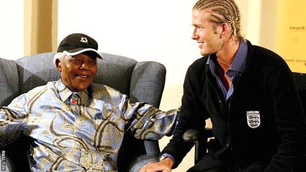 Nelson Mandela with David Beckham in 2003