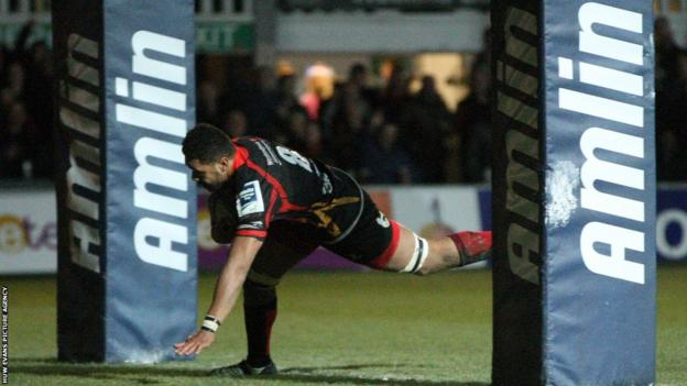 Toby Faletau scores underneath the posts at Rodney Parade for Newport Gwent Dragons in their 40-24 win v Bordeaux-Begles