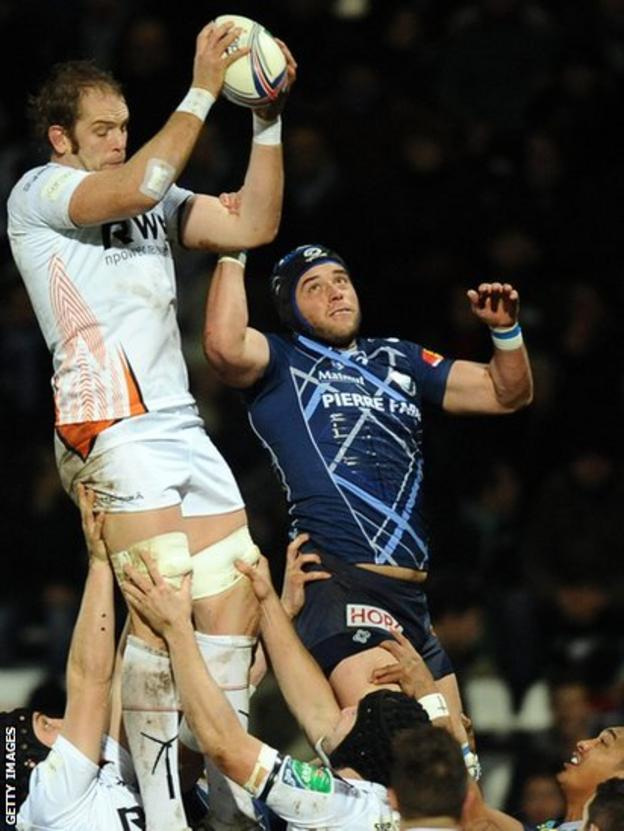 Ospreys captain Alun Wyn Jones secures lineout ball for his side in their 15-9 Heineken Cup defeat against Castres in France