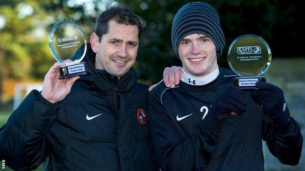 Dundee United manager Jackie McNamara and full-back Andrew Robertson